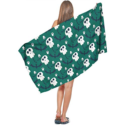 DoorSignHHH Indoor/Outdoor Lightweight Extra Large Bath Towel Halloween Ghost Scary and Bat Green Quick Dry Absorbent Colorful Swim 27.5