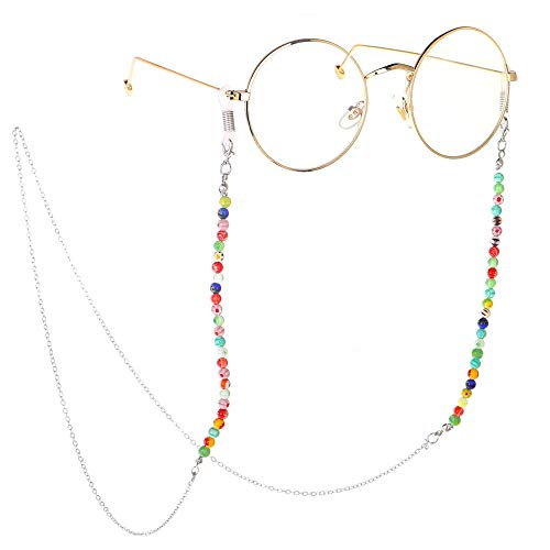 ZnMig Personality Multicoloured Silver Flower Beaded Glasses Sunglasses Chain Strap Cord Holder Bead Chain Holder Unisex Anti-Slip Eyeglass Cord Holder (Color : Silver, Size : 75cm)