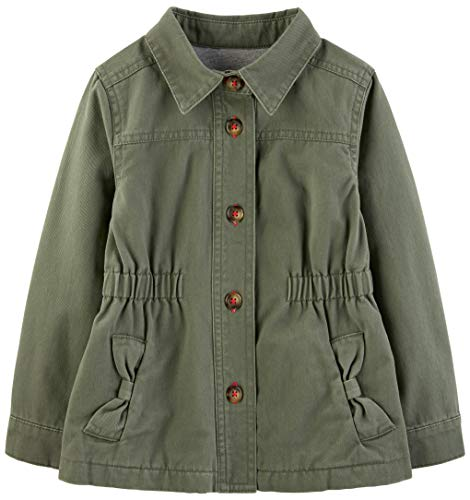 Simple Joys by Carter's Girls' Toddler Twill Button up Jacket, Olive Green, 3T
