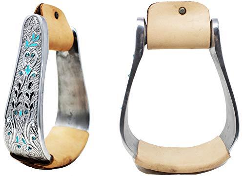 PRORIDER Western Horse Saddle Stirrups Aluminum Leather Engraved Bling Stirrup 51105