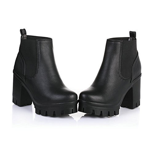 Snow Slip On High Shoes Motorcycle Platform Thick Boots Winter Heels Logan Jerald Black Black Women 0qxwfSPRna