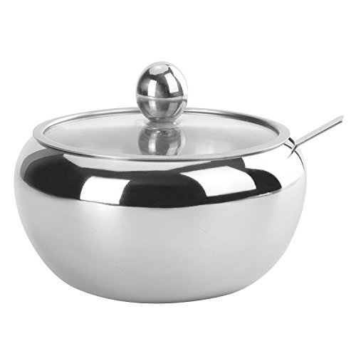 HardNok Stainless Steel Sugar Bowl with Glass Lid and Spoon, High Capacity, 17.5 Oz (520 ml)