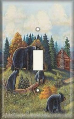 Toggle Light Switch Cover - Decorative Light Switch Plate Cover - Bear Scene