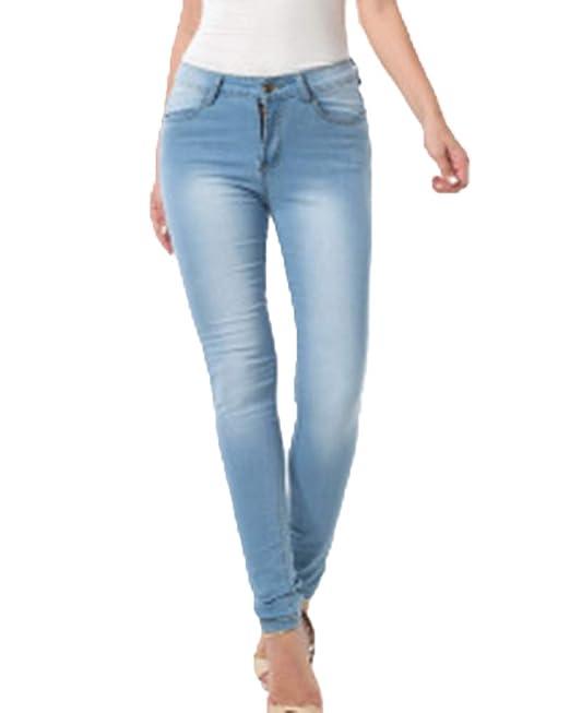 ZhuiKunA Pantalones Jeans Mujer Elástico Flacos Vaqueros ...