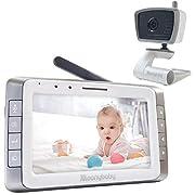 MoonyBaby 5  LCD Digital Video Baby Monitor with Automatic Night Vision, Temperature Monitoring, Two Way Talkback, Lullabies, Long Range, High Capacity Battery (MANUALLY Rotated Camera)