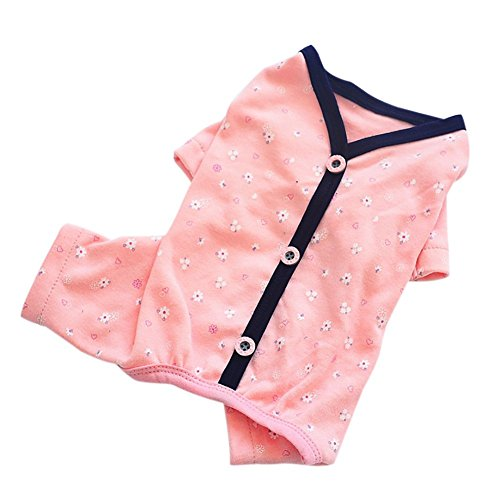 Adarl Cotton Pet Pajamas Dog Jumpsuit Button Cardigan Shirts Apparel for Puppy Pet Dog Cat ()