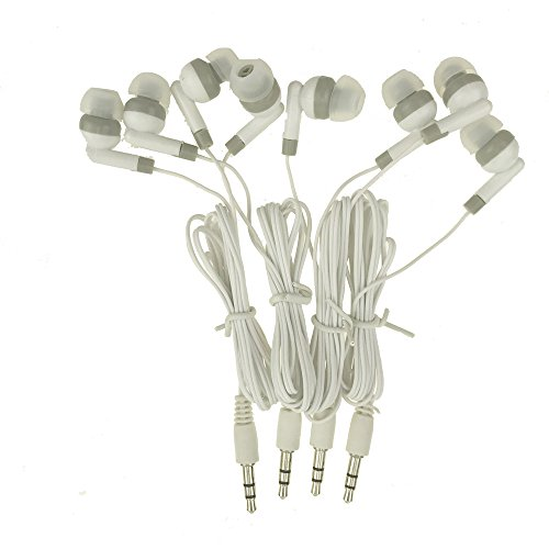 Wholesale Kids Bulk Earbuds Headphones Earphones 30 Pack White Color For Schools, Libraries, Hospitals