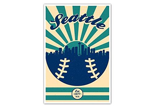 ArtsyCanvas Seattle Mariners Vintage Baseball Poster (12x18)