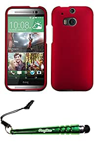 FoxyCase(TM) FREE stylus AND HTC One M8 Titanium Solid Red Phone Protector Cover