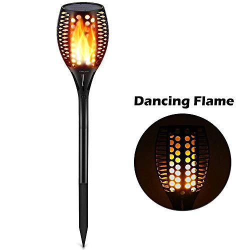 Sumaote Solar Torch Lights for Halloween Christmas, Garden Path Light 96 LED Dancing Flame Lighting Flickering Tiki Torch Waterproof Wireless Landscape Lights Dusk to Dawn Auto On/Off, 1 Pack