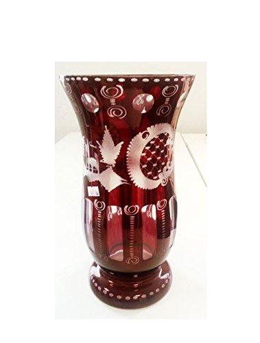 Vase Large Antique Hand Cut Bohemian Glass Vase Ruby Red Mouth Blown Original Egermann Crytal Glass Flower Vase Height Approx 20 Cm Oberstdorfer Glashütte