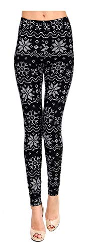VIV Collection Regular Size Printed Brushed Ultra Soft Leggings (White Snowflake)