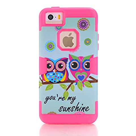 iPhone 5C Case,SAVYOU[3 in 1 Shield Series]OWL Sunshine Patterned Soft Silicone Inner Case and Hard PC Outer Case Cover for Apple iPhone 5C(Hot (Pink Iphone 5c Phone Case)