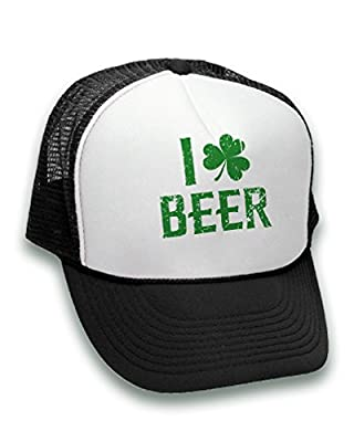 Pekatees I Love Beer Trucker Hat Green Hat For ST. Patrick's Day Drinking Party