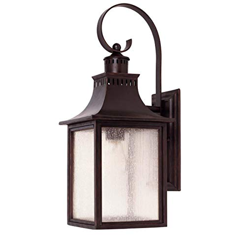 - Savoy House Lighting 5-258-13 Monte Grande Collection 1-Light Outdoor Wall Mount 17.75-Inch Lantern, English Bronze with Pale Cream Seeded Glass