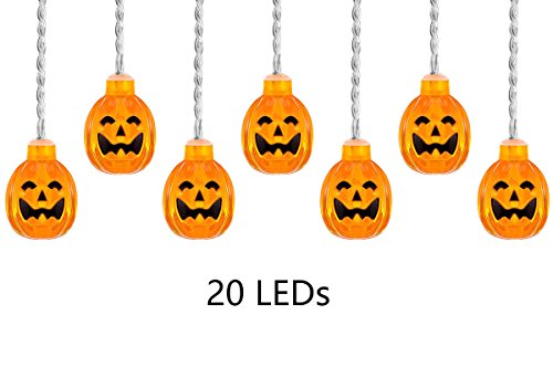 [Pumpkin String Light, ThxToms 20 LEDs Battery Powered Jack-O-Lantern for Halloween Party, 6.6ft] (20 Off Spirit Halloween)