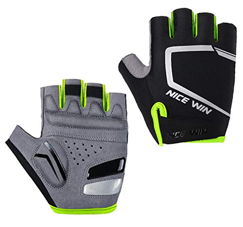 (Cycling Gloves - Motorcycle/Mountain Bike - Half-Finger Workout Gloves Road Bicycle Glove for Men or Women Yellow L)