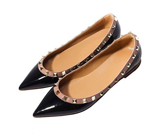 katypeny Womens Rivet Stud Slip On Pointed Toe Loafers Flats Pumps Shoes Blcak Beige PU Leather 7.5 M US Size EU38