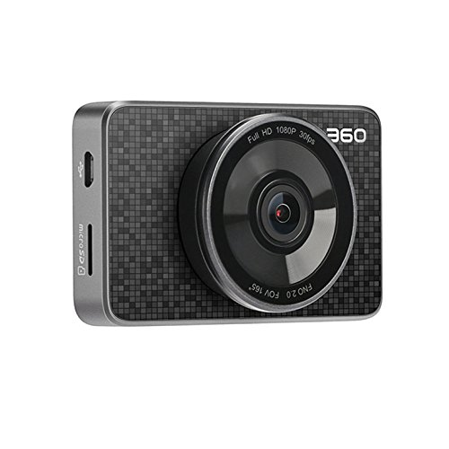 360 Car Dash Cam, 3.0'' LCD FHD 1080p 165° Wide Angle Car DVR Vehicle Camera Recorder with Ambarella A12, G-Sensor, WDR, Motion Detection, Loop Recording, Bluetooth Button & 16G Micro SD Card by 360