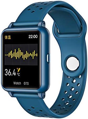 Orologio intelligente con misurazione della temperatura Sxgyubt frequenza cardiaca braccialetto sportivo Bluetooth Blu pressione sanguigna One