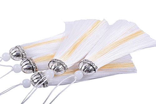 Konmay 10pcs Craft Tassels Charms, Two Tones with Antique Silver Caps, 10.0cm/4.0'', White ()