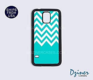 Galaxy S5 Heavy Duty Tough Case Cover - Blue Chevron Design by Maris's Diary
