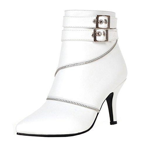 AIYOUMEI Damen Spitz Kleiner Absatz Stiletto Stiefeletten mit Reißverschluss und Scnalle Klassischer Stiefel vROzmNek