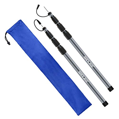 🥇 SANLIKE Tarp Tent Poles Fiberglass Camping Backpacking Tent Poles for Awning Rain Fly Shelters Set of 2