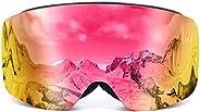 Ski Goggles, Snowboard Goggles/Over Glasses Ski/Motorcycle PRO Frameless Detachable Lens Anti-Fog Dustproof 10