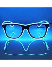 GCBTECH LED Bril Blauw Roze Groen Neon Licht Bril EL Neon Knipperende Lichtgevende Bril Verstelbaar Geluidscontrole Partybril Voor Feest Verjaardag Rave Concert DJ Disco Club Bar Halloween Kerstmis (Blauw)