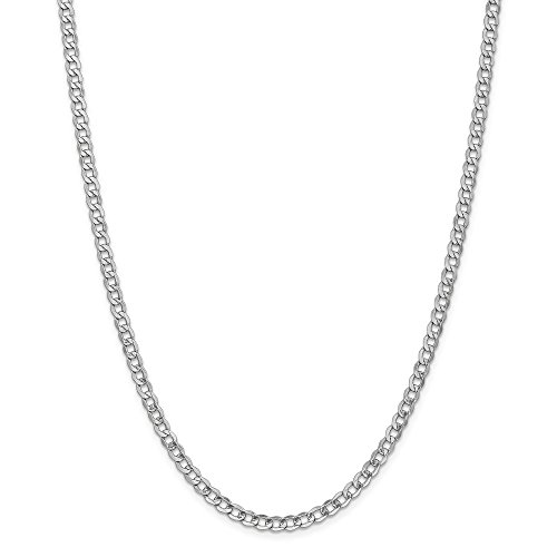 14k Gold Hollow Curb or Cuban Chain Necklace with Lobster Clasp (4.2mm) - White-Gold, 24 in