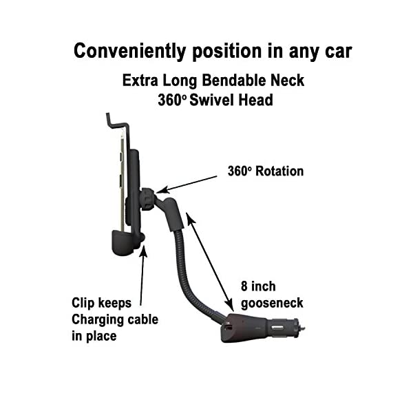 Car Mount I Go Teck Car Smartphone Holder Hands Free With Dual USB 31A Charger With Over Charge And Over Current Protection