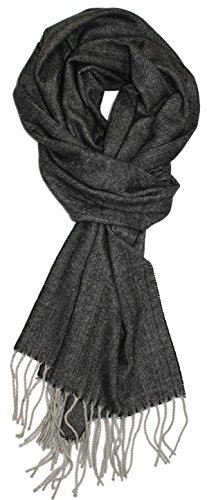 ess Cashmere Feel Herringbone Pattern Scarf (Charcoal with Light Grey Fringe) ()