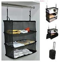 Travel Luggage Storage Suitcase Hanging 3 Shelves to go, Portable Hanging Organizer Clothing Towel Rack