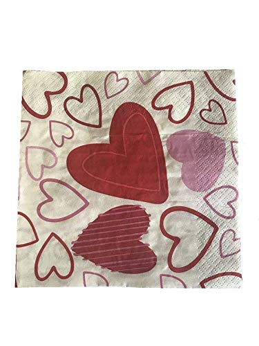 Colorful Heart Lunch and Beverage Napkins. Great for Valentine's Day Parties and Celebrations. Pack of 18. 2-Ply -