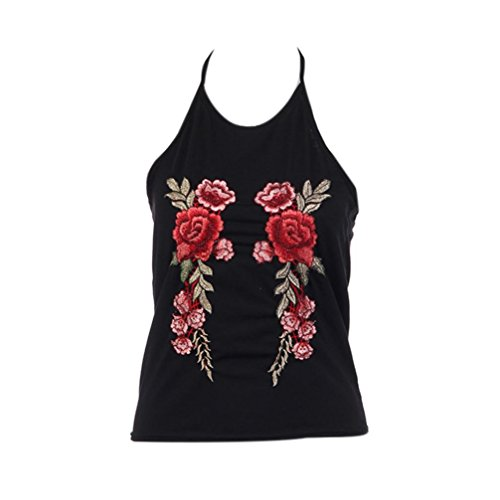 Price comparison product image XUANOU Women 2017 Fashion Hanging Embroidery Short Sling Sleeveless T-Shirt Vest (X-large)