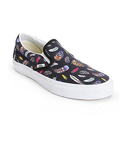 Vans Classic Slip On Unisex Shoes Feathers Black True White (7.0 US Men-8.5 US Women)