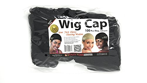Beauty Town Wig Cap 100 Pieces Bulk Bag - Black, Secures your hair, long lasting, stays in place, light, lightweight, breathable, wig comfortable]()
