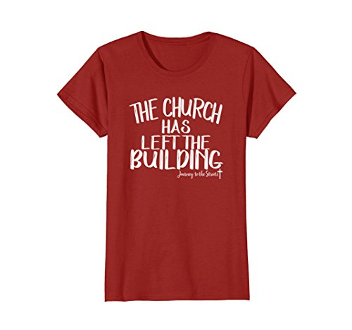 Womens The Church Has Left The Building Tshirt Journey Medium Cranberry by The Church