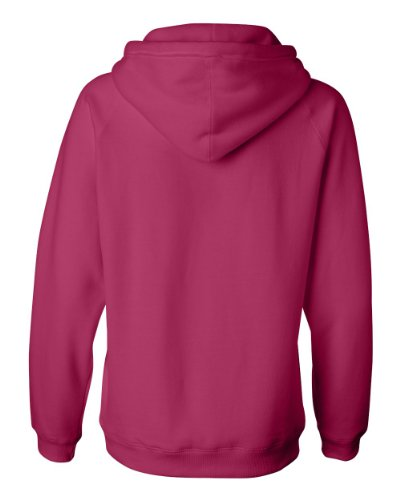 J-America Ladies' Brushed V-Neck Hooded Fleece - Wildberry - 2XL