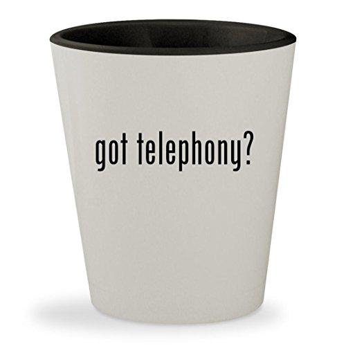 got telephony? - White Outer & Black Inner Ceramic 1.5oz Sho