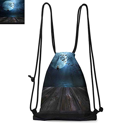 Halloween Decorations Durable Drawstring Backpack Misty Lake Scene Rusty Wooden Deck Spider Eyeball and Bats MoonlightSuitable for carrying around W13.8 x L17.7 Inch Blue Brown -