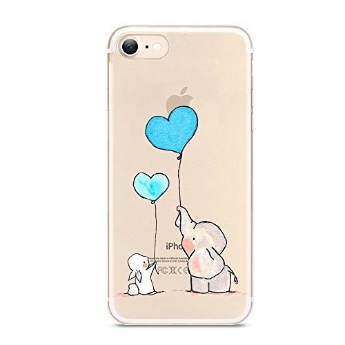 Iphone 7 Case Cute Novelty Animal Pattern On Soft Tpu Silicone Protective Skin Ultra Slim   Clear With Unique Design Gift Bumper Back Cover For Iphone 7 Elephant   Bunny P006