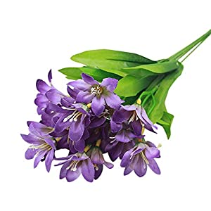 andy cool Premium Quality Lovely Artificial Mini Lily Flower Bouquet Home Wedding Decor 24 Flowers on 1 Piece - Purple 77
