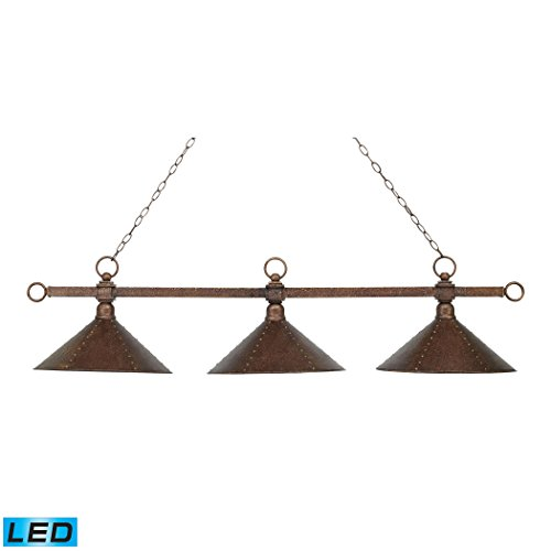 Alumbrada Collection Designer Classic 3 Light LED Billiard In Antique Copper With Hand Hammered Iron - Hand Iron Shades Hammered