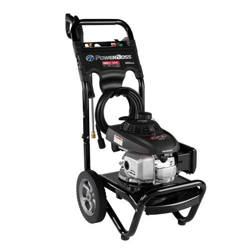 PowerBoss Gas Pressure Washer 2800 PSI 2.3 GPM Powered by HONDA GCV160 Engine with 25' High-Pressure Hose, 3 Nozzles & Detergent Injection
