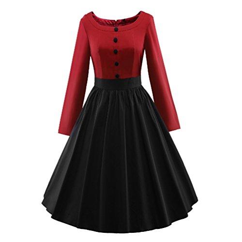 YouPue Damen Vintage Lange Ärmel Kleid Rockabilly Swing Kleider ...