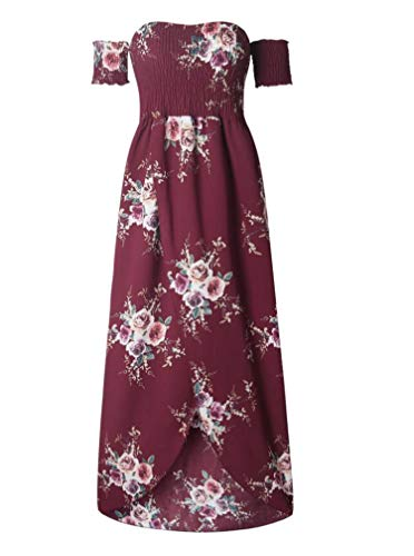 Boho Style Long Dress Women Off Shoulder Beach Summer Dresses Floral Print White,Red,XS
