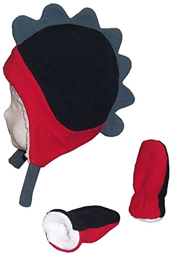 - N'Ice Caps Boys Soft Sherpa Lined Micro Fleece Dino Hat and Mitten Set (6-18 Months, Red/Black/Grey Infant)