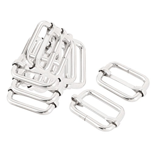 uxcell Metal Luggage Bag Belt Connecting Adjustive Tri Glide Buckle 12 Pcs Silver Tone (Silver Tone Buckle Slide)